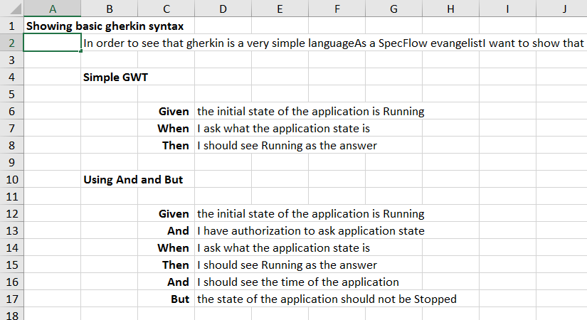 The feature in Excel format